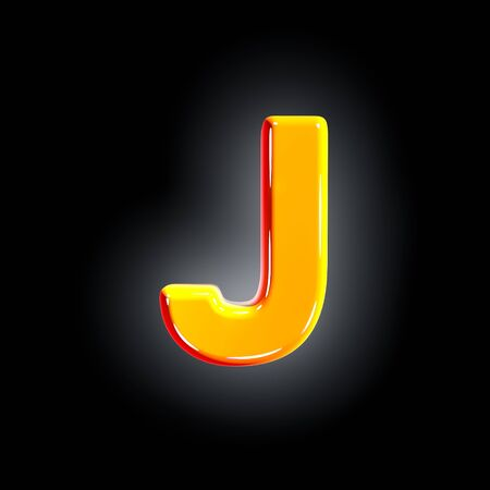 letter J of festive orange shine font isolated on solid black background - 3D illustration of symbols