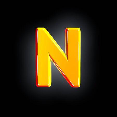 letter N of festive orange shining font isolated on solid black background - 3D illustration of symbols