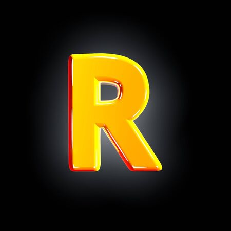 letter R of festive orange glossy alphabet isolated on solid black background - 3D illustration of symbols