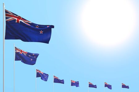 nice many New Zealand flags placed diagonal on blue sky with place for your content - any feast flag 3d illustration