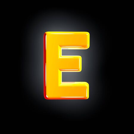 Bright shine yellow alphabet - letter E isolated on black background, 3D illustration of symbols 写真素材