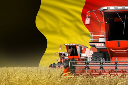 3 red modern combine harvesters with Belgium flag on rye field - close view, farming concept - industrial 3D illustration