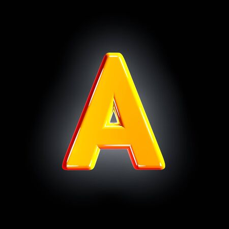 Bright polished yellow alphabet - letter A isolated on black background, 3D illustration of symbols Imagens