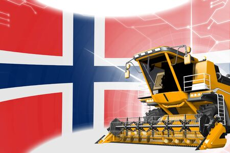Digital industrial 3D illustration of yellow advanced grain combine harvester on Norway flag - agriculture equipment innovation concept