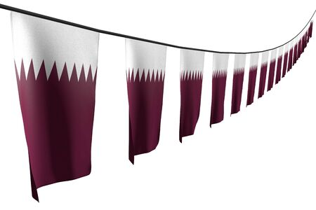 beautiful any feast flag 3d illustration  - many Qatar flags or banners hanging diagonal with perspective view on rope isolated on white