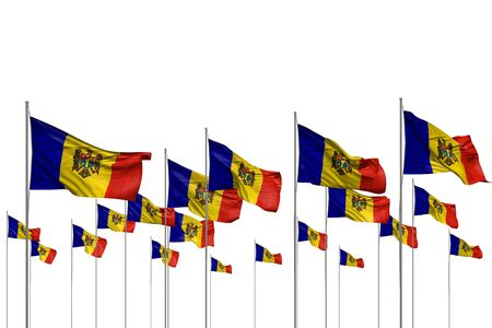 nice holiday flag 3d illustration  - many Moldova flags in a row isolated on white with empty place for text