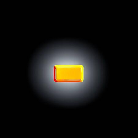 minus (dash) of festive orange glossy alphabet isolated on solid black background - 3D illustration of symbols Zdjęcie Seryjne