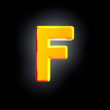 Bright shine yellow alphabet - letter F isolated on black background, 3D illustration of symbols