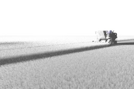 Industrial 3D illustration of big rye harvester working on field rendered in white color in aero photo style for using in design