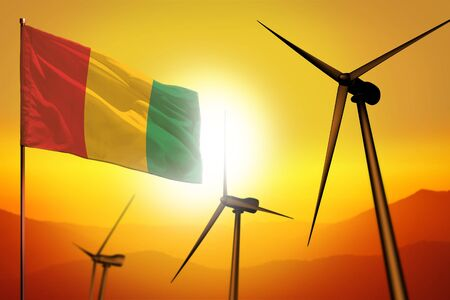 Guinea wind energy, alternative energy environment concept with turbines and flag on sunset - alternative renewable energy - industrial illustration, 3D illustration