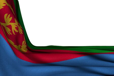 pretty isolated mockup of Eritrea flag hanging in corner on white with empty place for text - any celebration flag 3d illustration