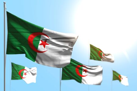 pretty anthem day flag 3d illustration  - 5 flags of Algeria are waving against blue sky picture with bokeh