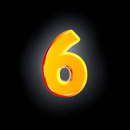 Bright polished yellow alphabet - number 6 isolated on black background, 3D illustration of symbols