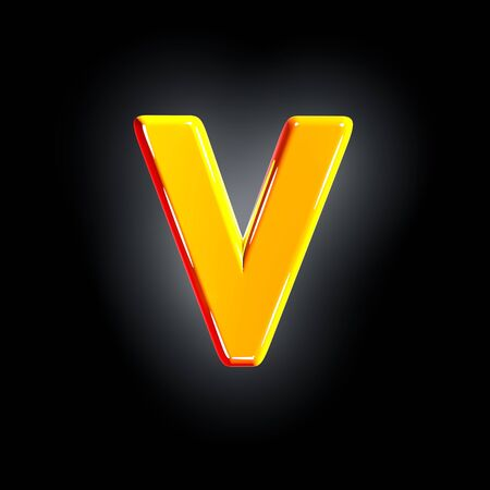Bright polished yellow font - letter V isolated on black background, 3D illustration of symbols