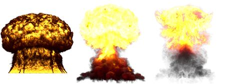 3 huge very highly detailed different phases mushroom cloud explosion of atom bomb with smoke and fire isolated on white - 3D illustration of explosion
