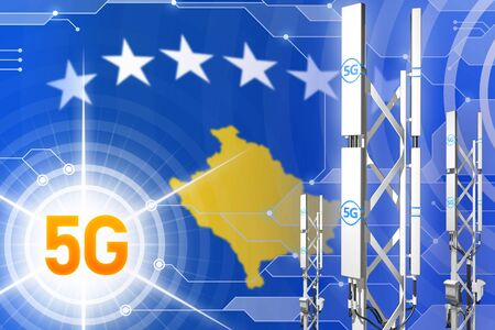 Kosovo 5G network industrial illustration, huge cellular tower or mast on modern background with the flag - 3D Illustration Stockfoto