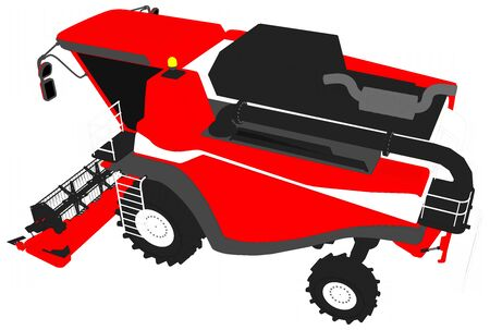 cartoon colored 3D model of big red rural combine harvester on white, clip art for food industry images - industrial 3D illustration Stock Photo