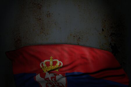 beautiful day of flag 3d illustration  - dark illustration of Serbia flag with large folds on rusty metal with empty space for text