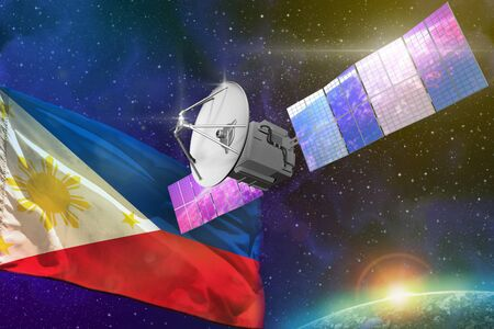 Satellite with Philippines flag, space communications technology concept - 3D Illustration