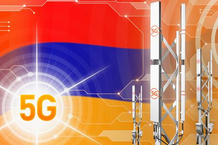 Armenia 5G network industrial illustration, big cellular tower or mast on modern background with the flag - 3D Illustration