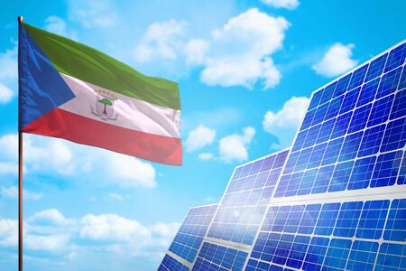 Equatorial Guinea alternative energy, solar energy concept with flag - symbol of fight with global warming - industrial illustration, 3D illustration 写真素材
