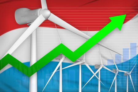 Luxembourg wind energy power rising chart, arrow up  - green energy industrial illustration. 3D Illustration