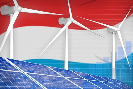 Luxembourg solar and wind energy digital graph concept  - modern energy industrial illustration. 3D Illustration