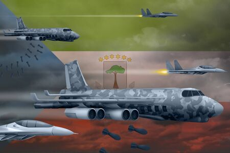 Equatorial Guinea bomb air strike concept. Modern Equatorial Guinea war airplanes bombing on flag background. 3d Illustration