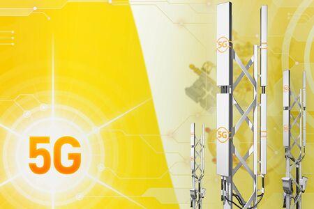 Holy See 5G network industrial illustration, huge cellular tower or mast on hi-tech background with the flag - 3D Illustration Imagens