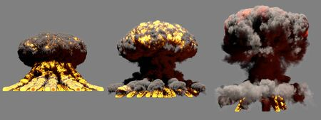 3 big different phases fire mushroom cloud explosion of thermonuclear bomb with smoke and flames isolated on grey background - 3D illustration of explosion