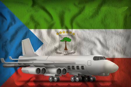 bomber on the Equatorial Guinea flag background. 3d Illustration Stock Photo