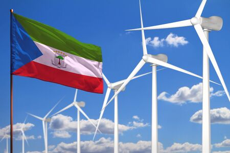 Equatorial Guinea alternative energy, wind energy industrial concept with windmills and flag - alternative renewable energy industrial illustration, 3D illustration 写真素材