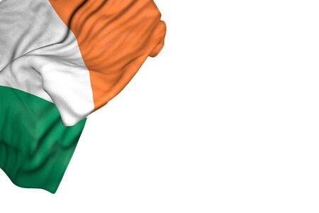 wonderful Ireland flag with large folds lying flat in top left corner isolated on white - any feast flag 3d illustration Stock Photo