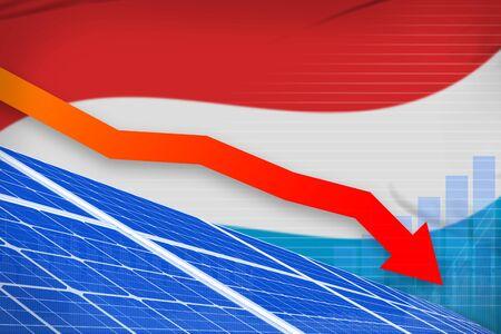 Luxembourg solar energy power lowering chart, arrow down  - environmental energy industrial illustration. 3D Illustration 写真素材