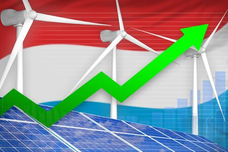 Luxembourg solar and wind energy rising chart, arrow up  - green energy industrial illustration. 3D Illustration