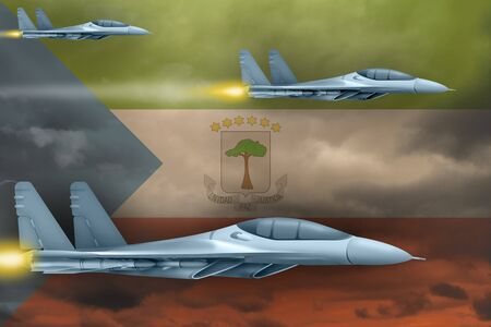 Equatorial Guinea air strike concept. Modern war airplanes attack on Equatorial Guinea flag background. 3d Illustration Imagens
