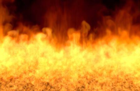 melting fire on black background, fire from image bottom - fire 3D illustration Stock Photo