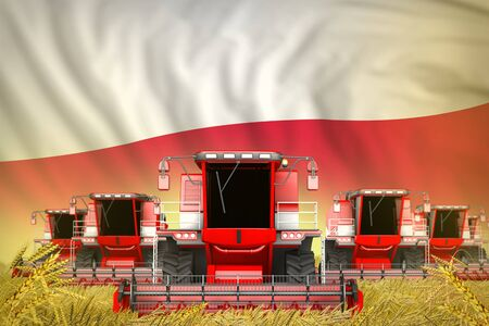 some red farming combine harvesters on rye field with Poland flag background - front view, stop starving concept - industrial 3D illustration