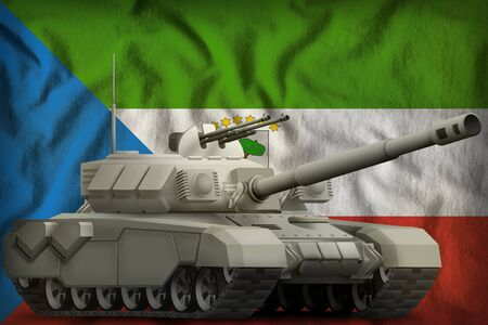 heavy tank on the Equatorial Guinea flag background. 3d Illustration