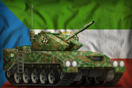 light tank apc with summer camouflage on the Equatorial Guinea flag background. 3d Illustration