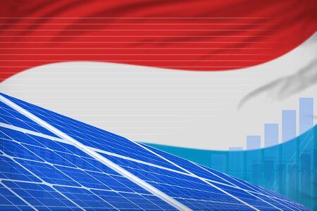 Luxembourg solar energy power digital graph concept  - modern energy industrial illustration. 3D Illustration Imagens