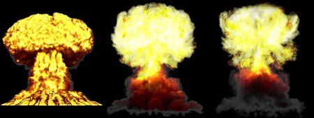 3 big very highly detailed different phases mushroom cloud explosion of super bomb with smoke and fire isolated on black - 3D illustration of explosion