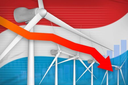 Luxembourg wind energy power lowering chart, arrow down  - modern energy industrial illustration. 3D Illustration
