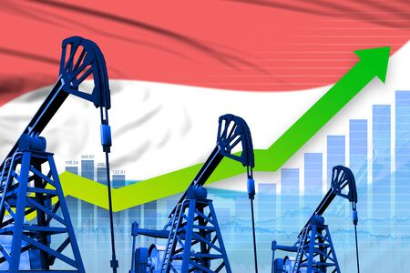 Luxembourg oil industry concept, industrial illustration - growing graph on Luxembourg flag background. 3D Illustration