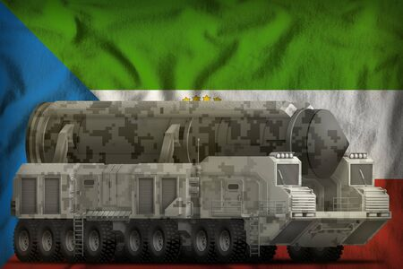 intercontinental ballistic missile with city camouflage on the Equatorial Guinea flag background. 3d Illustration