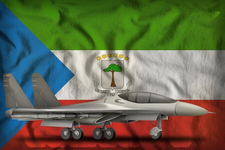 fighter, interceptor on the Equatorial Guinea flag background. 3d Illustration