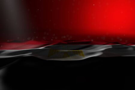 beautiful anthem day flag 3d illustration  - dark illustration of Egypt flag lay on red background with selective focus and empty space for text
