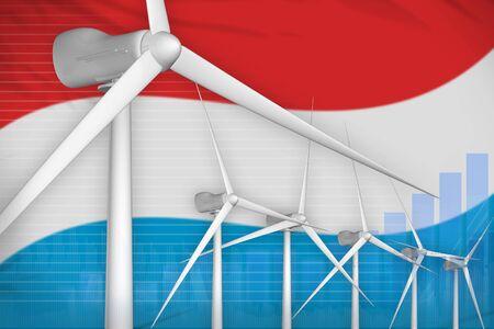 Luxembourg wind energy power digital graph concept  - renewable energy industrial illustration. 3D Illustration