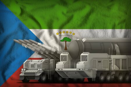 rocket forces on the Equatorial Guinea flag background. Equatorial Guinea rocket forces concept. 3d Illustration