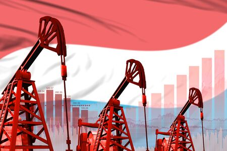 Luxembourg oil and petrol industry concept, industrial illustration on Luxembourg flag background. 3D Illustration Stok Fotoğraf